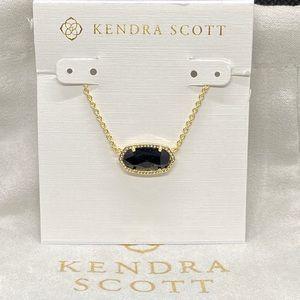 New Kendra Scott Gold Elisa in Black Opaque Glass